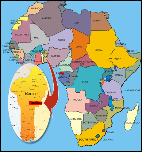 west africa map benin